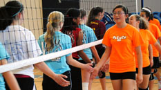 Girls volleyplayers shaking hands