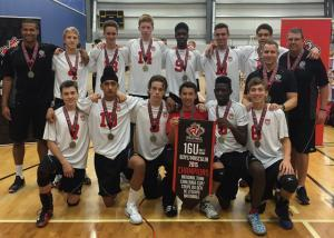 Pakmen Volleyball Coach Matt Harris and 16U Champions Team