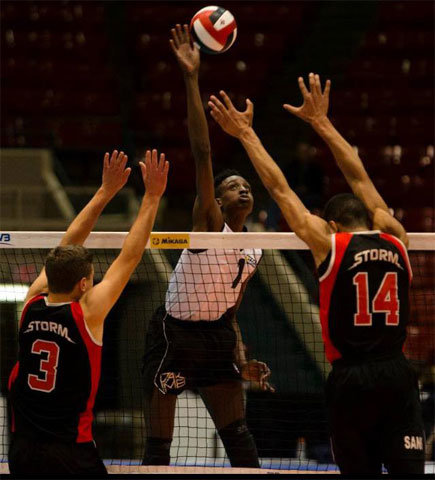 Pakmen player spiking a volleyball