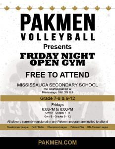 Friday Night Open Gym for Middle and High School Players